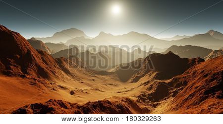 Dust storm on Mars. Sunset on Mars. Martian landscape with craters. 3D illustration