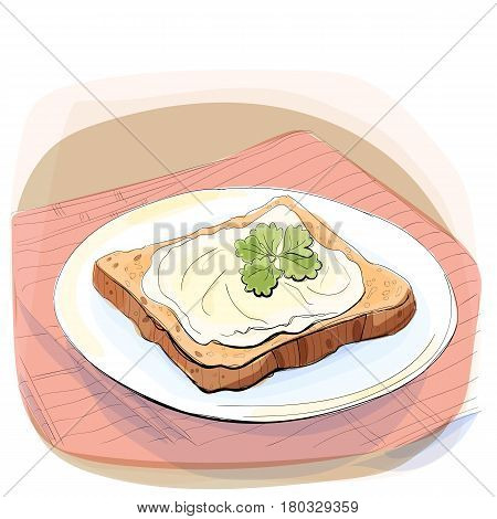 Color illustration of bread with butter and parsley on a plate