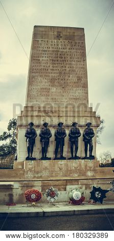 London UK - February 25 2016: Guards Division Memorial honours dead soldiers of 5 regiments of World Wars - St. James's Park Horse Guards Road London UK