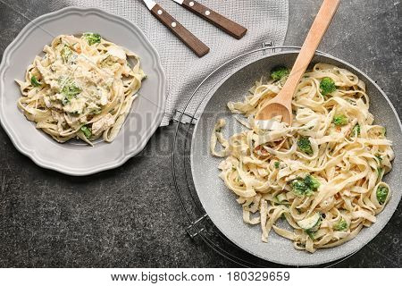 Delicious Italian chicken Alfredo on table