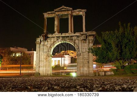 The Arch of Hadrian is the Roman Triumphal Arch in Athens Greece