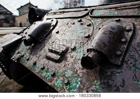 Exhaust of old vintage military tank outdoor