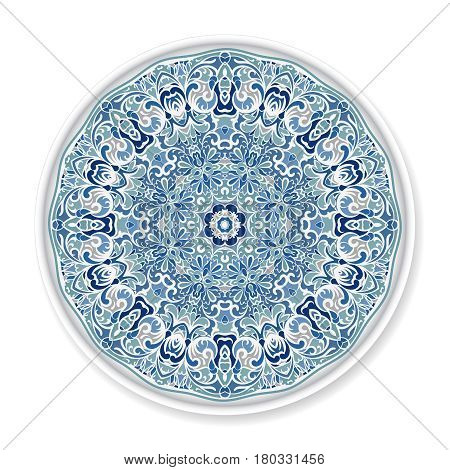 Decorative Plate With Round Ornament.