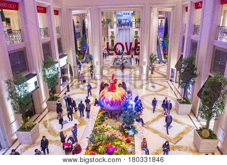 LAS VEGAS - JAN 08 : Chinese new year decorations at the Venetian hotel & Casino in Las Vegas on January 08 2017. With more than 4000 suites it's one of the most famous hotels in the world.
