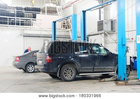Stupino, Moscow region, Russia - April, 4, 2017: Cars in a car repair station in Stupino, Russia