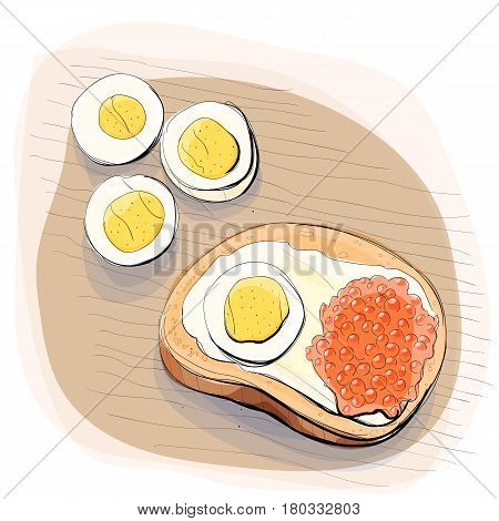Color illustration of bread with butter, egg and red caviar