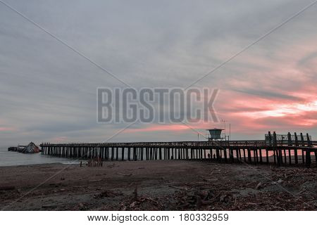 Fishing Pier and SS Palo Alto Ship at Sunset. Seacliff State Beach, Aptos, California USA.