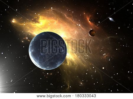 Space background. Extrasolar planets or exoplanets. 3D illustration