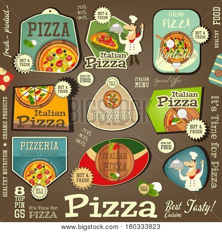 Set Labels for Pizza. Pizzeria Stickers. Italian Food. Vector Illustration.