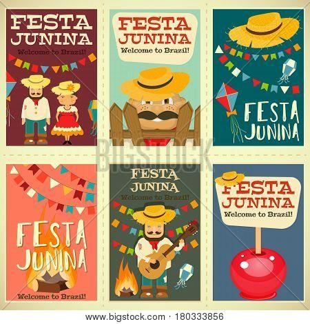 Festa Junina - Brazil June Festival. Posters Set of Folklore Holiday. Vector Illustration.