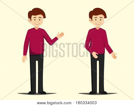 boy standing in different poses vector illustration isolated on background elements. teenager demonstrates different hand gestures in flat style