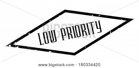 Low Priority rubber stamp. Grunge design with dust scratches. Effects can be easily removed for a clean, crisp look. Color is easily changed.