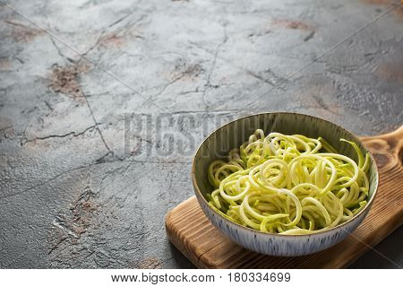 Spiralized Courgette On The Grey Table