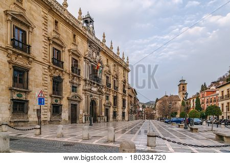 Building of High Court of Justice of Andalusia on Santa Ana square Granada