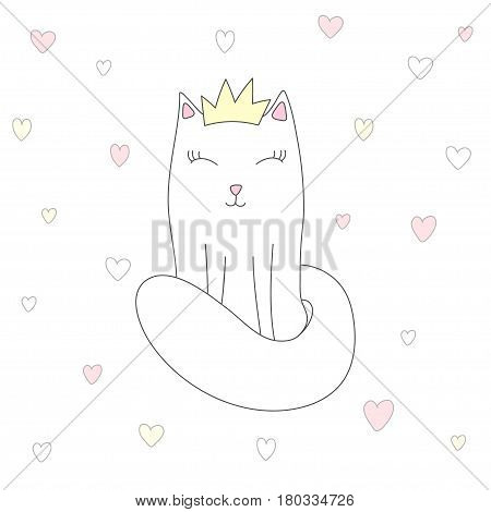 Little princess cat with a crown in love