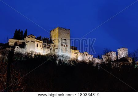 View of Alhambra from Darro river in evening Granada Spain