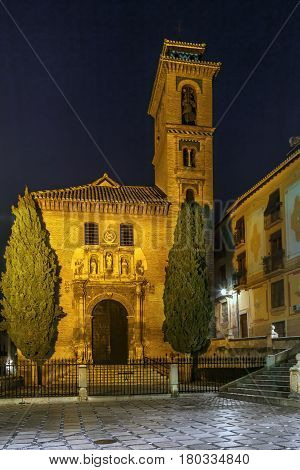 Church of San Gil and Santa Ana is a prototype of the Mudejar style in Granada built on the foundations of a former mosque Spain. Evening