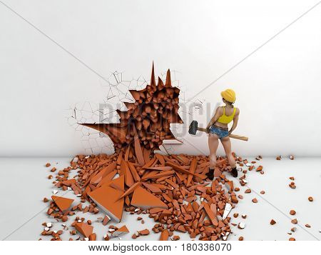 Woman destroying the wall, 3d illustration