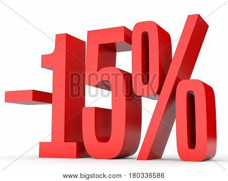Minus Fifteen Percent. Discount 15 %.
