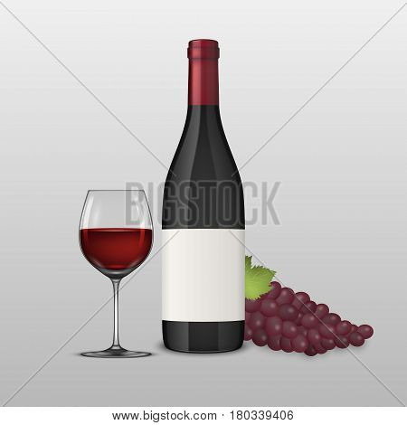 Vector realistic grapes brunch, wine glass and bottle of red wine illustartion. Design template, EPS10 illustration.