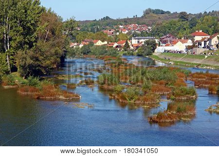 View of Una river near city of Hrvatska Kostajnica