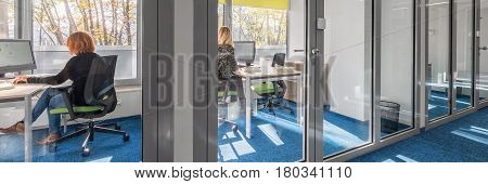 Panoramic view of modern and light office interior with glass wall