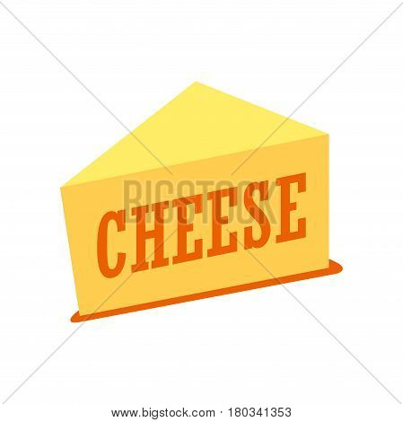 Vector Illustration of Cheddar Cheese Piece isolated on white background.