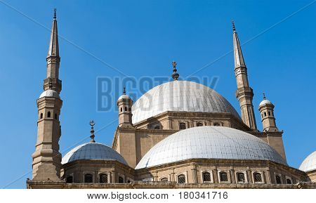 Domes of The great Mosque of Muhammad Ali Pasha (Alabaster Mosque) situated in the Citadel of Cairo Egypt commissioned by Muhammad Ali Pasha 1830 - 1848. Considered as one of the landmarks of Cairo