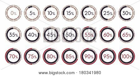 Set digital collection of infographics charts isolated on a white background Vector Illustration. 0 5 10 15 20 25 30 35 40 45 50 55 60 65 70 75 80 85 90 95 100 percent.