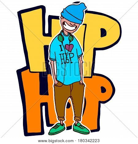 Teen rapper stands on the background is on the background of graffiti. Vector isolated image. Hand made style. Prints, posters, videos, mobile apps, web sites and print projects.