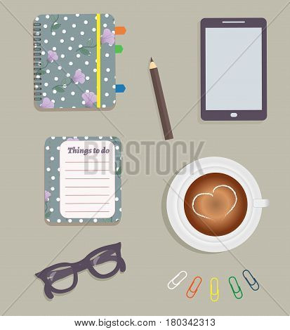 Stationery: A day planner spiral-bound with the cute purple flowers and polka dots. A tab. The glasses. A pencil. Clips. Tablet. To do list. A cup of coffee with a heart. Vector illustration