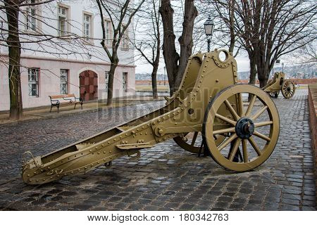 Old military machines or artillery on outdoor exhibition at the Buda castle in Budapest Hungary