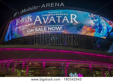 LAS VEGAS - NOV 24 : The T-Mobile arena in Las Vegas on November 24 2016. The arena is located west of the Las Vegas Strip and has 20000 seat capacity
