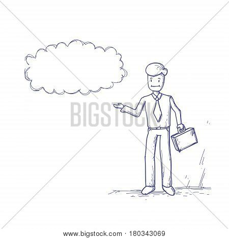 Business Man Ponder Thinking Cloud Chat Bubble Vector Illustration