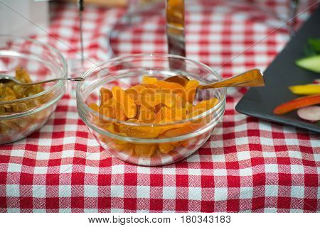 apricots in a glass dish. healty food.