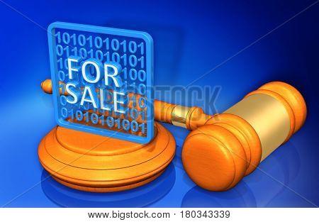 Data For Sale Legal Gavel Concept 3D Illustration