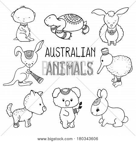 Cute australian animals outlined vector drawing. Animals of Australia hand-drawn illustration. Lovely turtle meerkat sheepcangaroo kiwi birddingo dog koala bear wild rabbit. Nursery clip art