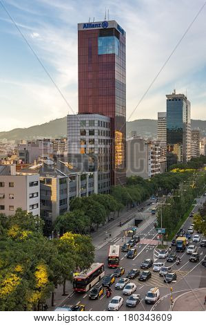 BARCELONA SPAIN - OCTOBER 23 2015:Urban view of Barcelona the capital city of the autonomous community of Catalonia in the Kingdom of Spain
