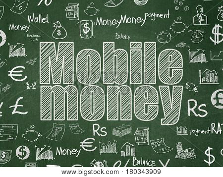Currency concept: Chalk White text Mobile Money on School board background with  Hand Drawn Finance Icons, School Board