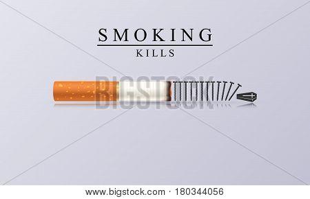 Smoking Kills. Creative illustration with burning cigarette. Vector