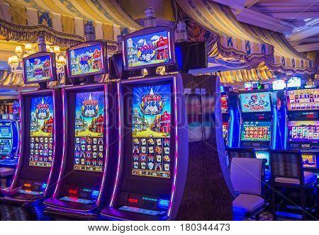 LAS VEGAS - OCT 05 : The interior of Bellagio hotel and casino on October 05 2016 in Las Vegas. Bellagio is a luxury hotel and casino located on the Las Vegas Strip. The Bellagio opened on 1998.