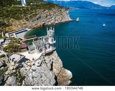 The famous castle Swallow's Nest on the rock in the Black Sea, Russia. This castle is a symbol of Crimea.
