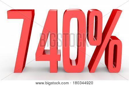 Seven Hundred And Forty Percent. 740 %. 3D Illustration.