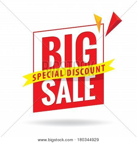 Big Sale Heading Design For Banner Or Poster. Sale And Discounts. Vector Illustration