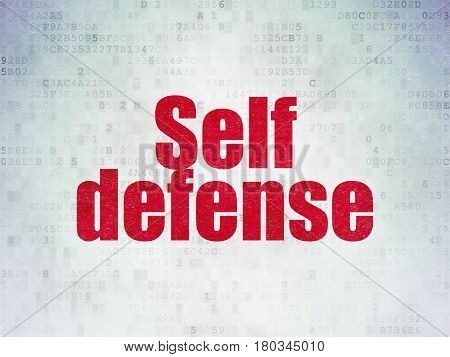 Security concept: Painted red word Self Defense on Digital Data Paper background