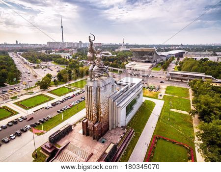 MOSCOW - AUGUST 23, 2016: Aerial view of Moscow with famous soviet monument Worker and Kolkhoz Woman (Worker and Collective Farmer). Made of stainless steel in 1937.