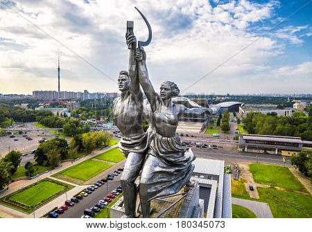MOSCOW - AUGUST 23, 2016: Famous soviet monument Worker and Kolkhoz Woman (Worker and Collective Farmer) of sculptor Vera Mukhina. Made of stainless steel in 1937.