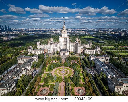 MOSCOW - SEPTEMBER 1, 2016: Aerial view of Lomonosov Moscow State University (MGU) on Sparrow Hills, Moscow, Russia