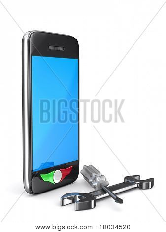 Phone repair on white background. Isolated 3D image