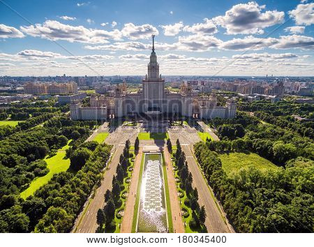 Aerial view of Lomonosov Moscow State University (MSU) on Sparrow Hills in Moscow, Russia
